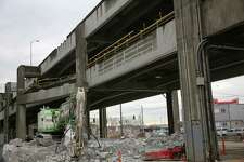 Demolition on the double decker sections of the Alaskan Way Viaduct will begin Wednesday near Columbia Street. More than 20 million pounds of steel and concrete have already been removed and officials say they are about 15% done with the demolition. Photographed March 11, 2019.
