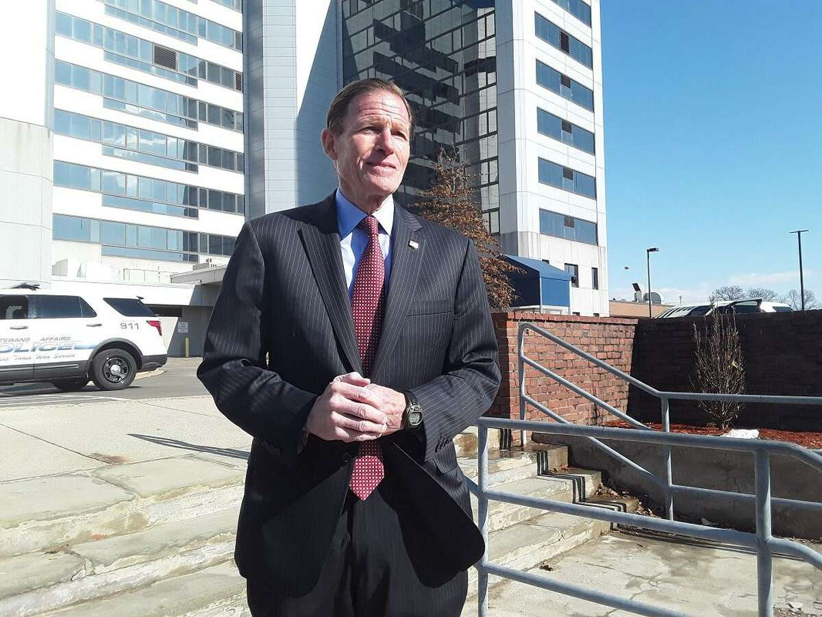 U.S. Sen. Richard Blumenthal at a previous a press conference on the steps of the Veterans Affairs medical center in in West Haven.