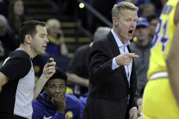 e464bb33f10 1of3Warriors head coach Steve Kerr talks to an official late in the second  half as the Golden State Warriors played the Phoenix Suns at Oracle Arena  in ...