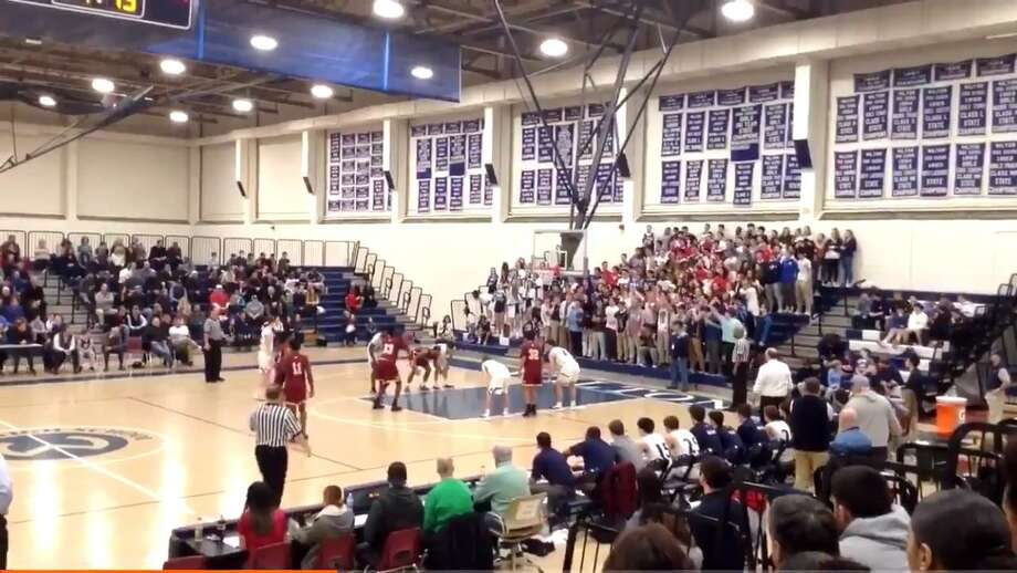Wilton will apologize for comments made by members of its student section for chants directed at a New Britain basketball player during a state tournament game Friday, March 8, 2019. Photo: Screenshot / Twitter