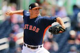 WEST PALM BEACH, FL - MARCH 11: Pitcher Brad Peacock #41 of the Houston Astros delivers a pitch against the New York Mets during the fifth inning of a spring training baseball game at Fitteam Ballpark of the Palm Beaches on March 11, 2019 in West Palm Beach, Florida. The Astros defeated the Mets 6-3.