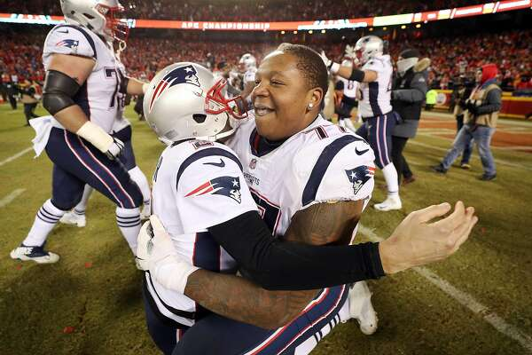 0d03eeccd 1of6Trent Brown (right) celebrates the AFC Championship victory with Brian  Hoyer in January.Photo  Patrick Smith   Getty Images