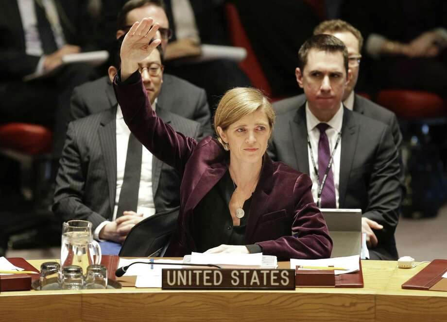 Samantha Power, United Nations ambassador under former President Barack Obama, votes for sanctions against North Korea in 2016. Photo: Seth Wenig / AP / AP