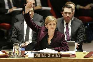 Samantha Power, United Nations ambassador under former President Barack Obama, votes for sanctions against North Korea in 2016.