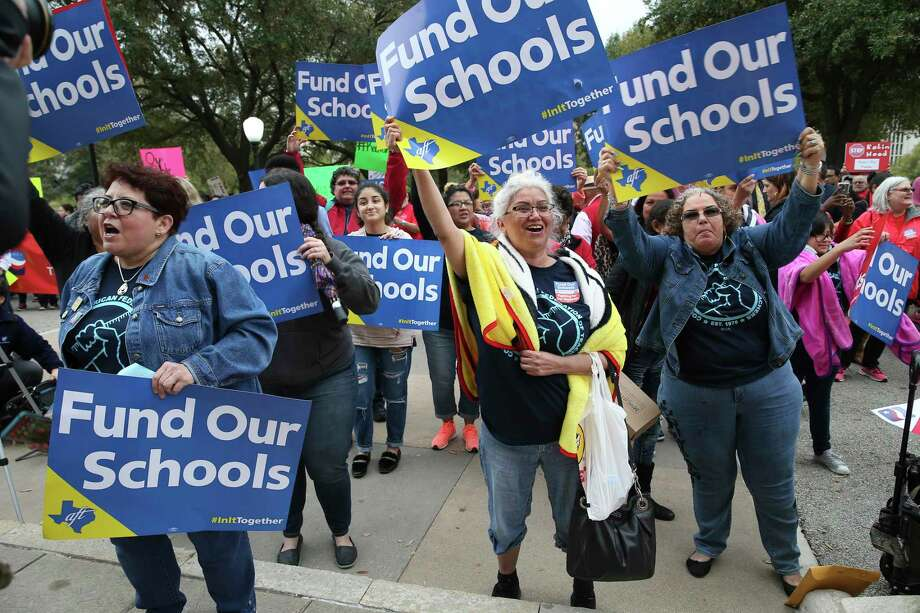 From left, Nancy Vera, Eva Saenz and Inez Alvarado, of Corpus Christi, Texas, cheer at a rally at the State Capitol in Austin, Texas, Monday, March 11, 2019. Over a thousand teachers and support staff from throughout Texas gather at the rally in support of public education funding. Photo: Jerry Lara / Staff Photographer / © 2019 San Antonio Express-News