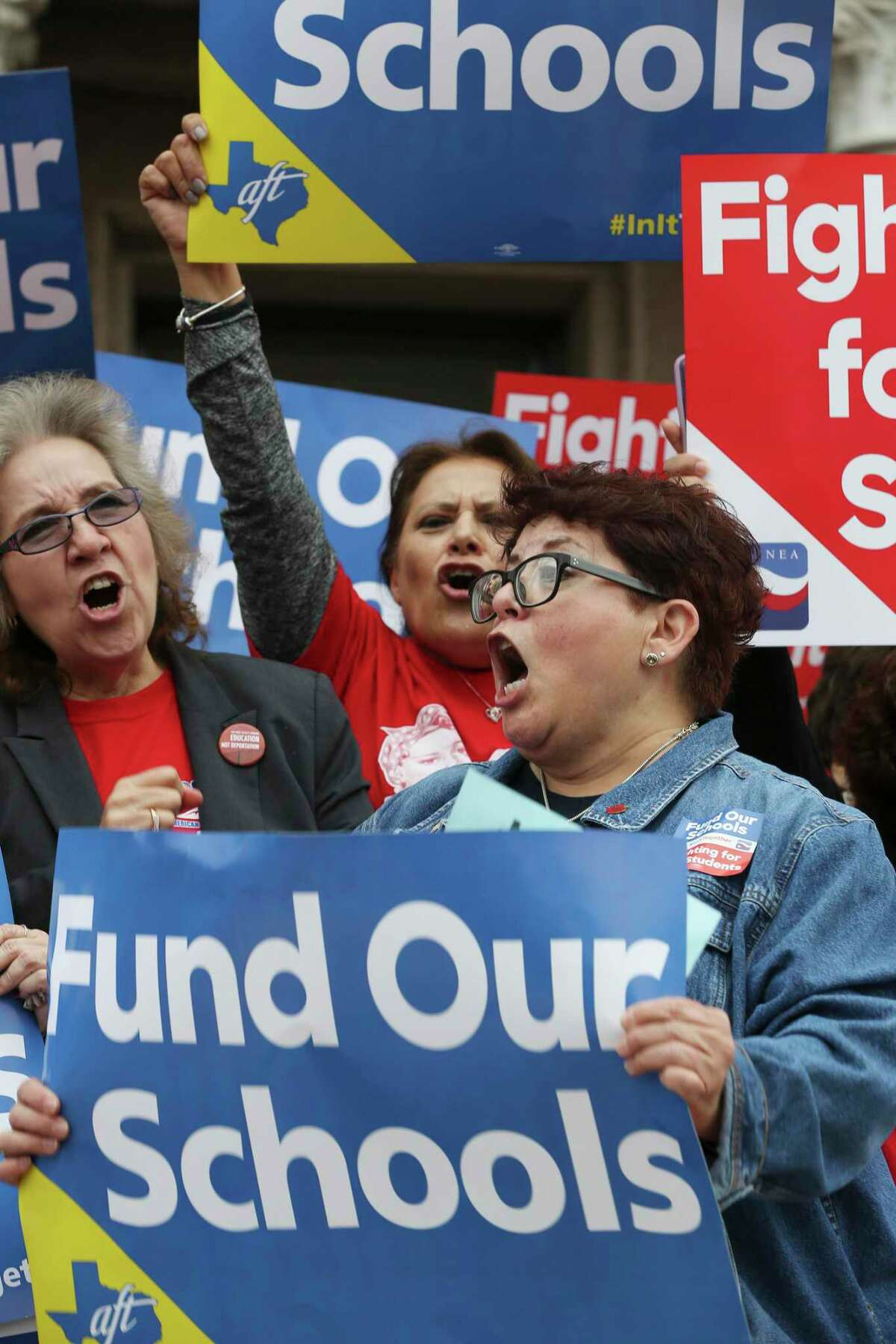 Protesters gather outside the Texas Capitol this spring to call for increased school funding. Lawmakers responded, but why not fund public education and increase teacher pay so protests and strikes don't happen, and students aren't affected?