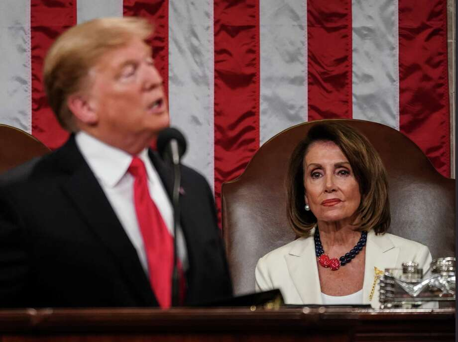 "Speaker Nancy Pelosi on President Trump and talk of impeachment: ""He's just not worth it."" Photo: Doug Mills-Pool / Getty Images / 2019 Getty Images"