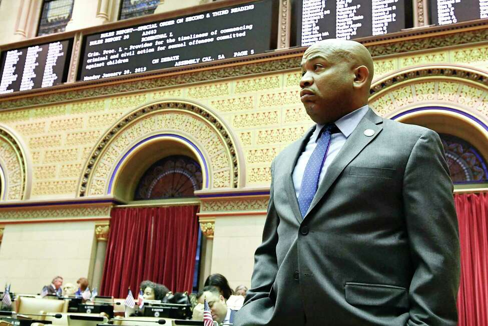 Assembly Speaker Carl Heastie, D-Bronx, in the Assembly Chamber at the state Capitol on Monday, Jan. 28, 2019, in Albany, N.Y. (AP Photo/Hans Pennink)