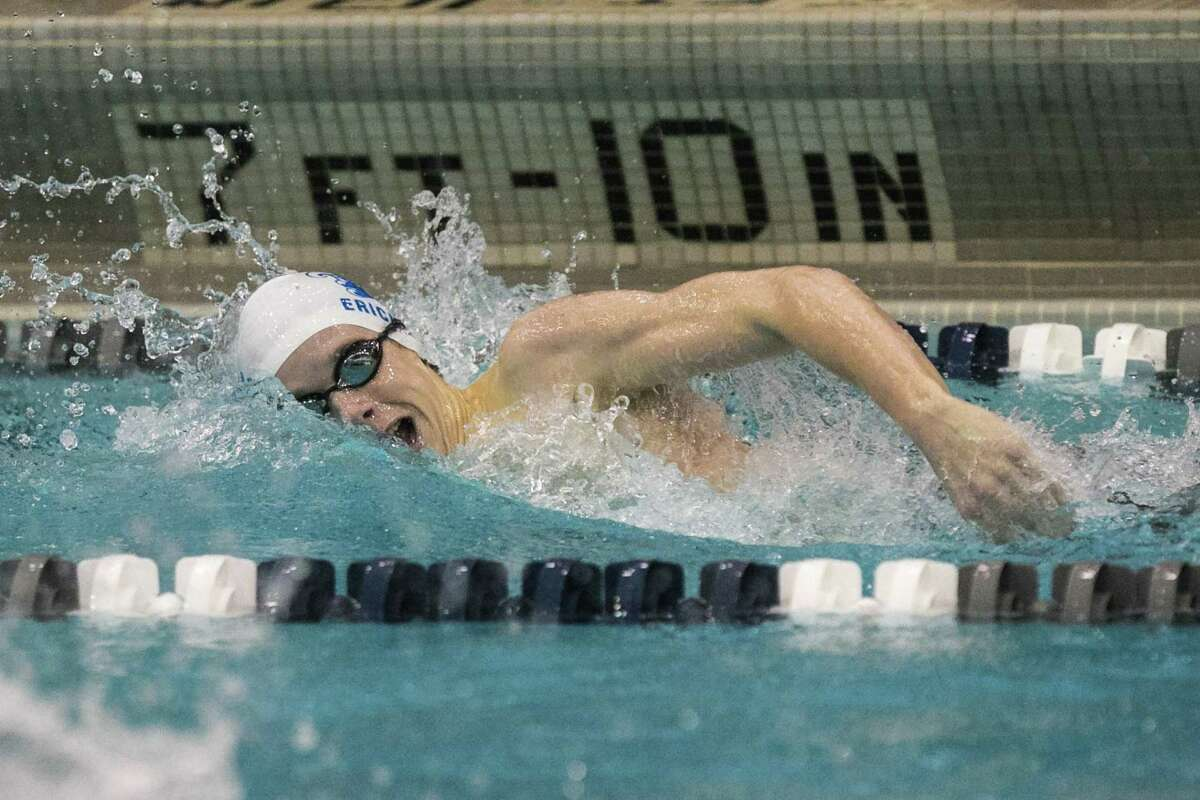 (John Vanacore/For Hearst Conneicut Media) Darien's Spencer Erickson races in the 200 yard freestyle