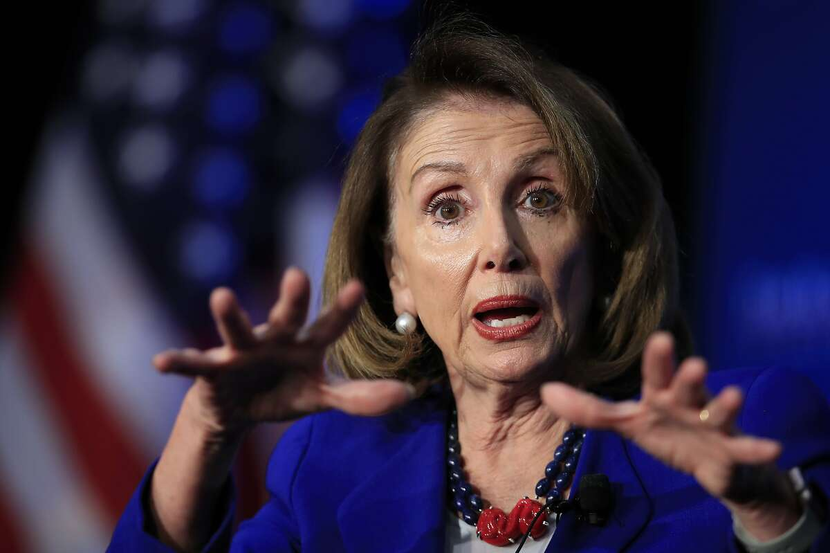 In this March 8, 2019, photo, House Speaker Nancy Pelosi of Calif., speaks at the Economic Club of Washington in Washington. Pelosi is setting a high bar for impeachment of President Donald Trump, saying he is