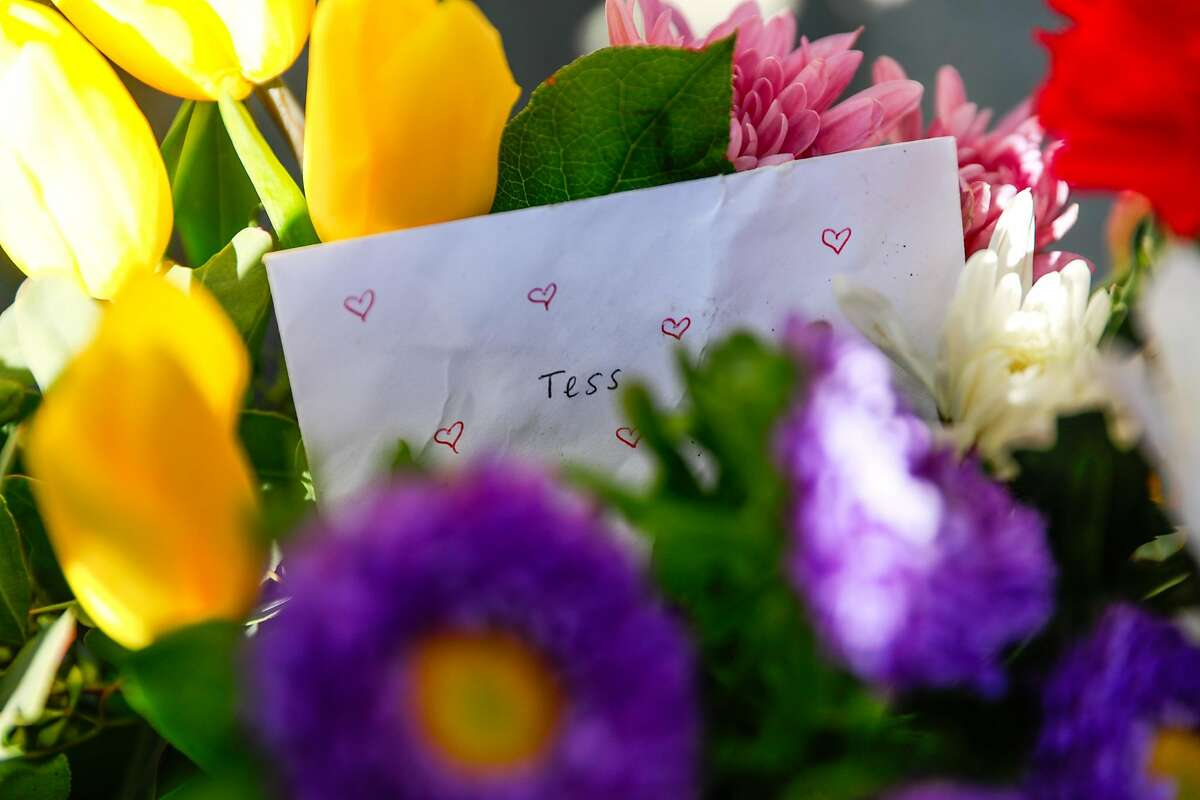 Flowers and a card were left for a cyclist who was killed last Friday after being struck by a vehicle near 6th and Howard Streets in San Francisco, California, on Monday, March 11, 2019