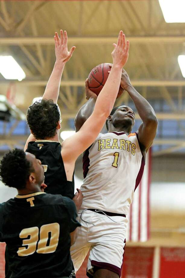 Trumbull beat Sacred Heart 73-66 during a CIAC Division I boys basketball quarterfinal on Monday, March 11, 2019 at Pomperaug High School in Southbury, Conn. Photo: David G. Whitham / For Hearst Connecticut Media / Stamford Advocate Freelance