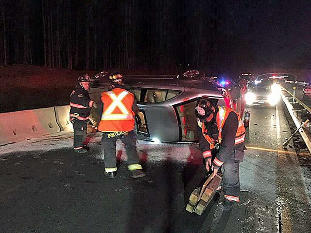 Driver unhurt after Merritt rollover