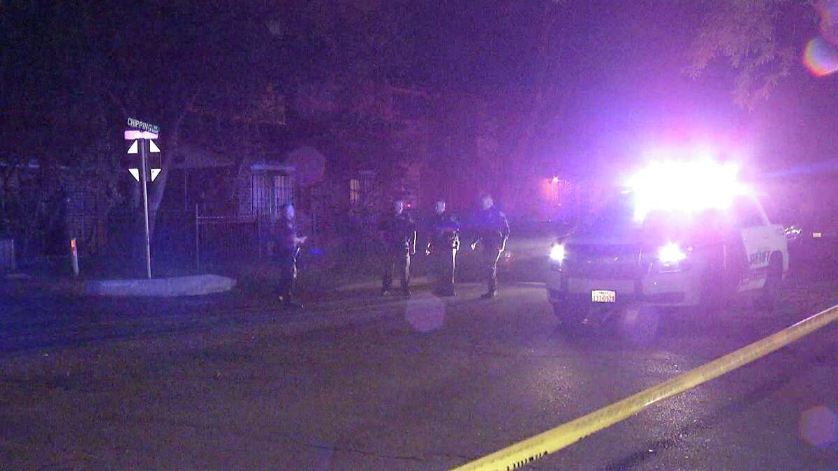 The victim's girlfriend arrived to the home in the 6800 block of Stockport at about 11:10 p.m. and found the victim, a man in his late 20s or early 30s, suffering from a gunshot wound to his chest.