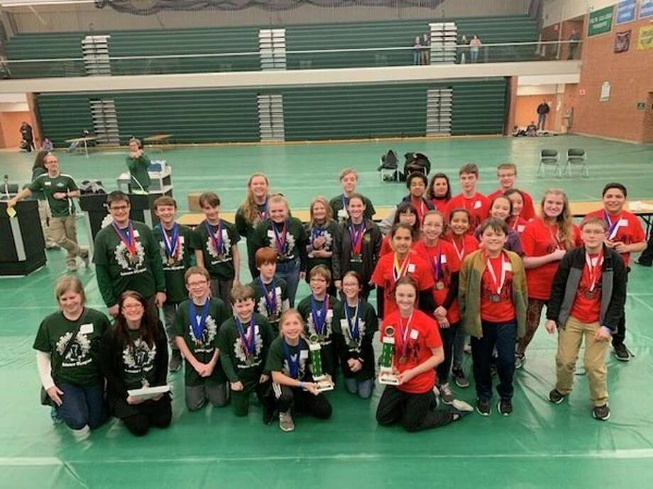 The regional Science Olympiad took place recently at Delta College with teams from Northeast (left) and Jefferson middle schools placing first and second in their division, respectively. Both teams, as well as a team from H.H. Dow High School, advanced to the state tournament. (Submitted photo)