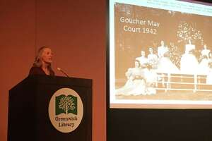 'Code Girls' author Liza Mundy speaks last year at the Cole Auditorium as part of the Greenwich Reads Together event.
