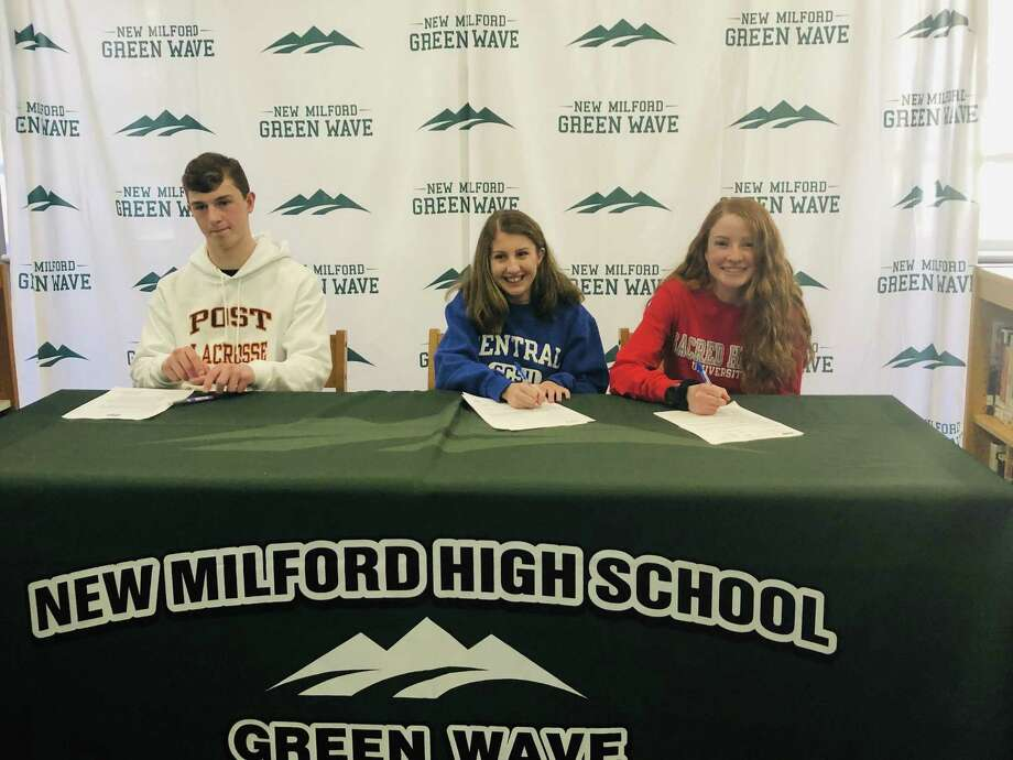 From left: Ian Magner, Brooke Morabito and Katie Delaney signed their National Letters of Intent on Monday. Photo: Ryan Lacey/Hearst Connecticut Media