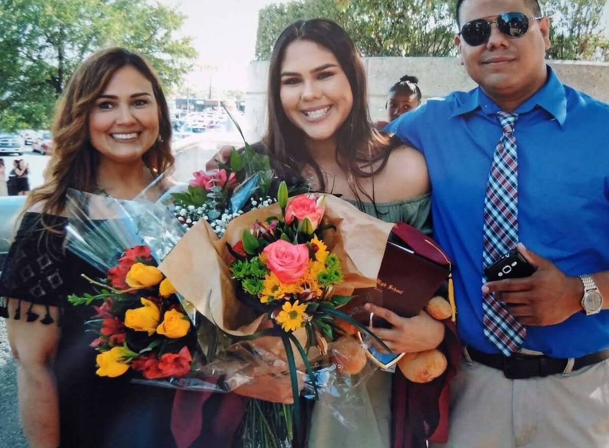 Rena Castro, left, her daughter, Erin Castro, center, and Alex Lopez are seen in an undated courtesy photo provided March 11, 2019. Erin Castro was killed Sept. 2, 2018, and police have charged her boyfriend, Josh Garcia, with murder.