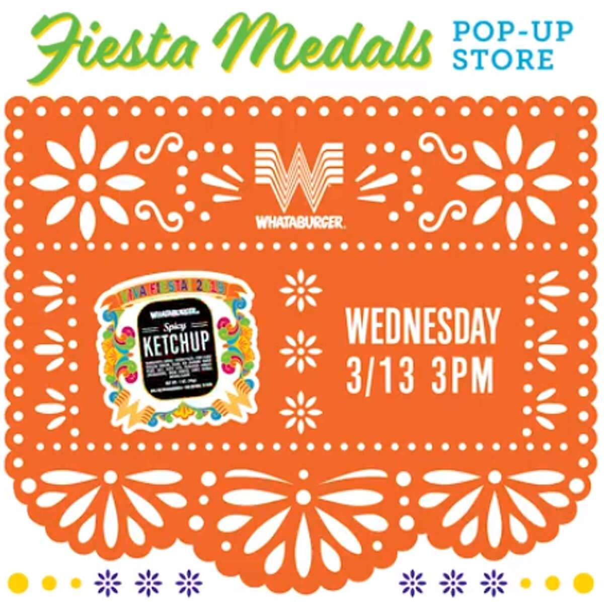 Whataburger's 2019 Fiesta medal will launch March 13 at a pop up party at the chain's downtown location before going live on the online store for $10.99.