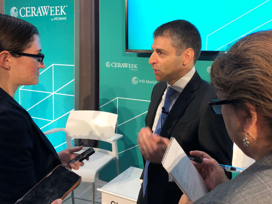 Carlyle Group Managing Director Ferris Hussein speaks with reporters at CERAWeek by IHS Markit. The Carlyle Group is investing $400 million into developing a crude oil export terminal near Corpus Christi. Photo: Sergio Chapa / Houston Chroincle