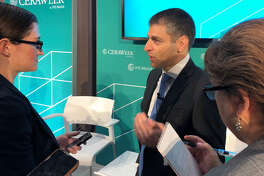 Carlyle Group Managing Director Ferris Hussein speaks with reporters at CERAWeek by IHS Markit. The Carlyle Group is investing $400 million into developing a crude oil export terminal near Corpus Christi.