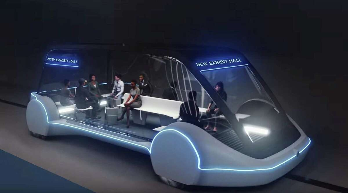 This undated conceptual drawing provided by The Boring Company shows a high-occupancy Autonomous Electric Vehicle (AEV) that would run in a tunnel between exhibition halls at the Las Vegas Convention Center.