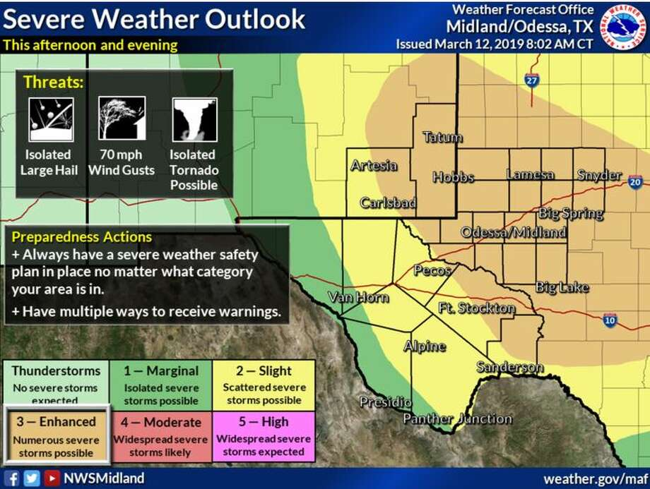 Severe Weather threat will develop this afternoon and continue through the evening with isolated large hail threat, damaging winds, and a few tornadoes possible. Enhanced risk for areas east of the Pecos River. Photo: National Weather Service