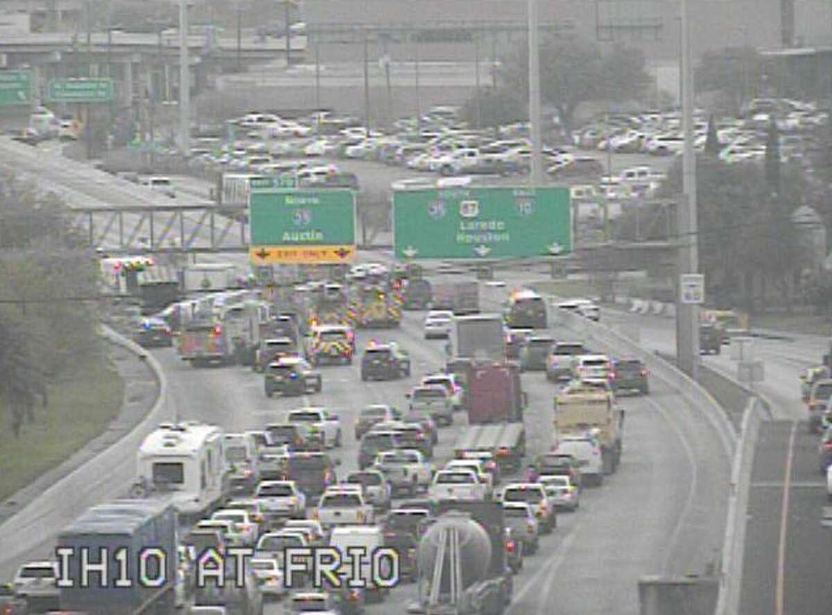 Authorities are responding to a major crash on Interstate 10 near Frio Street.