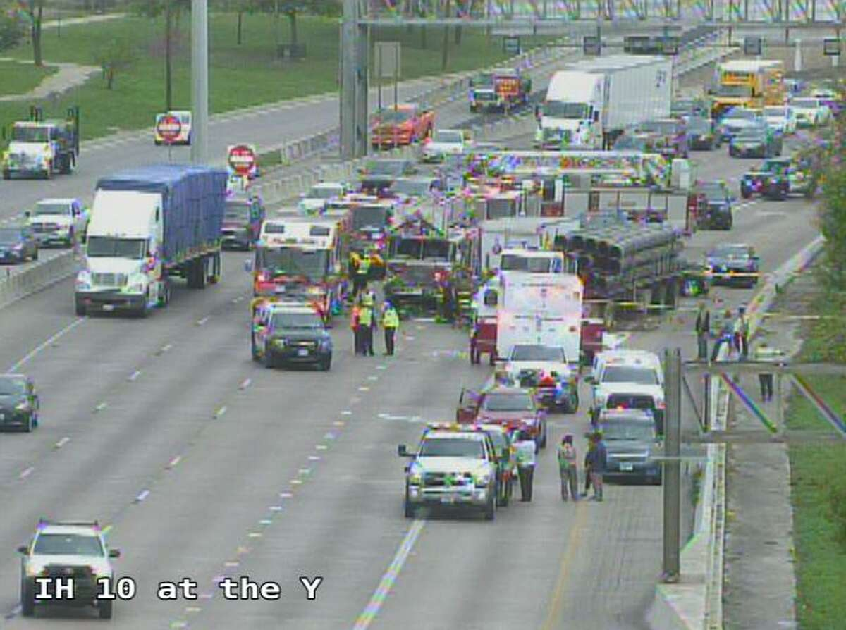The accident was reported at about 10:45 a.m. in the eastbound lanes of I-10 near near the Interstate 35 interchange.