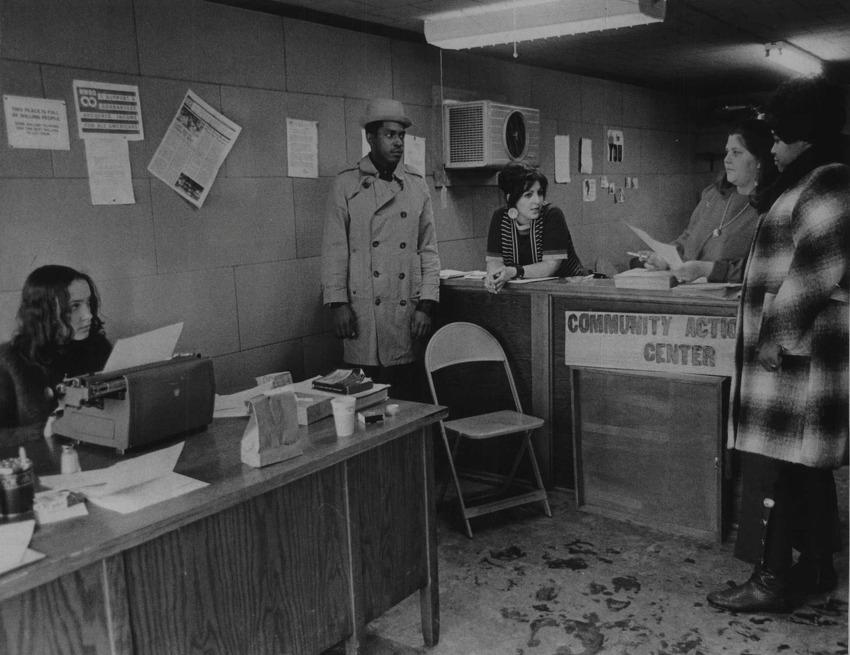 Rensselaer Community Action Center, OEO, 863 Broadway, Rensselaer, New York - Charlene Spenziero, Staff; Junior Rainey; Vera Michelson, staff; Janet Giese, and Barbara McDougal - new anti-poverty. 1970 (Times Union Archive)