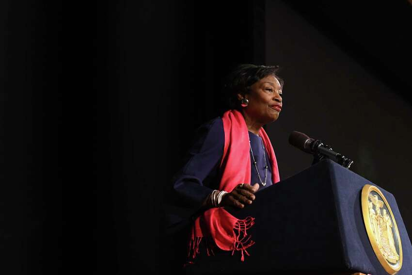 Senate Majority Leader Andrea Stewart-Cousins speaks during a Planned Parenthood lobby day event on Tuesday, March 12, 2019, at the Empire State Plaza Convention Center in Albany, N.Y. Reproductive health and rights patients, advocates, and supporters from around the state, gathered in Albany to support reproductive health care and rights. (Will Waldron/Times Union)