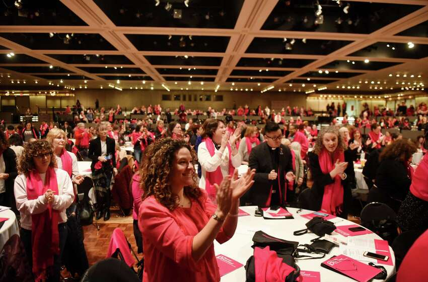 Nicole Margiasso of Planned parenthood Mohawk Hudson, applauds Attorney General Tish James who spoke during a Planned Parenthood lobby day event on Tuesday, March 12, 2019, at the Empire State Plaza Convention Center in Albany, N.Y. Reproductive health and rights patients, advocates, and supporters from around the state, gathered in Albany to support reproductive health care and rights. (Will Waldron/Times Union)
