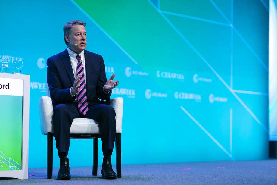 Bill Ford, chairman of Ford Motor Co., speaking on electric vehicles and self-driving cars during the 2019 CERAWeek by IHS Markit conference in Houston, Texas.  Photo: F. Carter Smith/Bloomberg