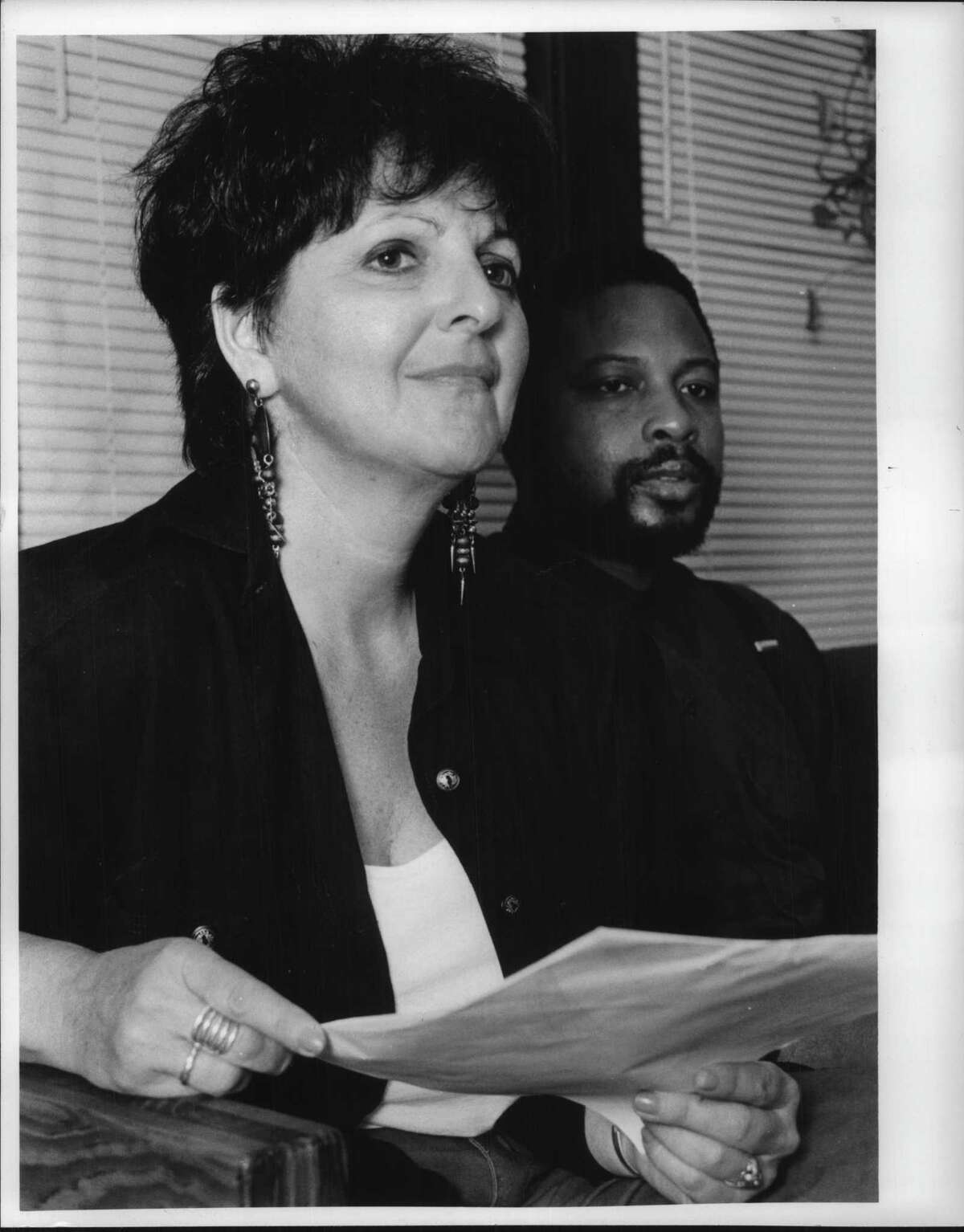 Albany, New York - Vera Michelson and Merton Simpson, Co-Chairs of the Capital District Coalition Against Racism and Apartheid, fighting for freedom here and in South Africa. September 15, 1991 (Luanne M. Ferris/Times Union Archive)
