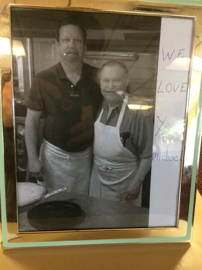 "Michael ""Dickie"" Sosnowski with Chris Katsetos near the ovens of Beverly Pizza on Bridgeport's Fairfield Avenue. Sosnowski, 62, died March 3 in Massachusetts. A Memorial Service will be conducted March 16 at 11 a.m. in St. Ann's Church, Bridgeport. Photo: / Michael P. Mayko"