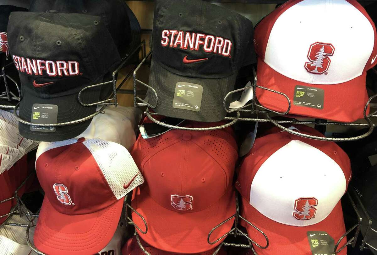 STANFORD, CALIFORNIA - MARCH 12: Hats with the Stanford University logo are displayed at the Stanford Athletics Shop on March 12, 2019 in Stanford, California. More than 40 people, including actresses Lori Loughlin and Felicity Huffman, have been charged in a widespread elite college admission bribery scheme. Parents, ACT and SAT administrators and coaches at universities including Stanford, Georgetown, Yale, and the University of Southern California have been charged. (Photo by Justin Sullivan/Getty Images)