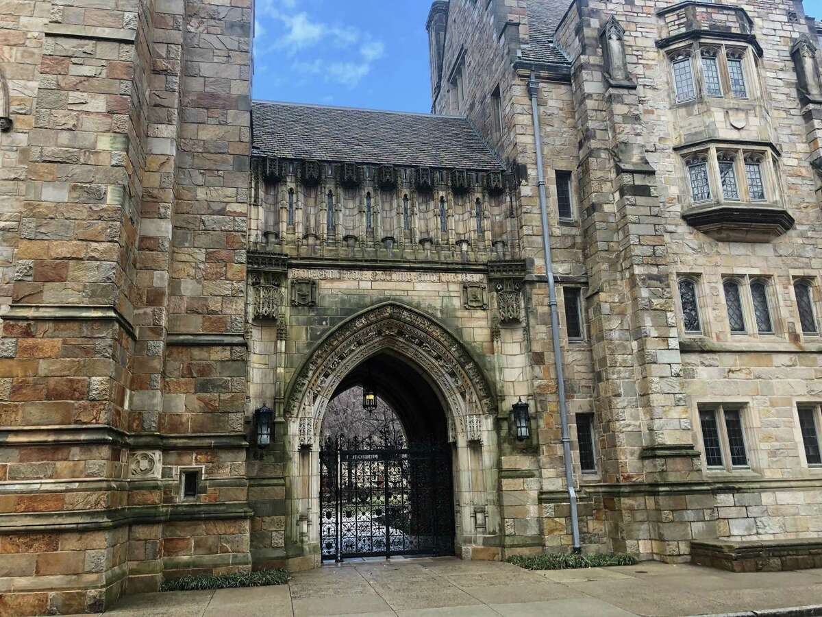 A gate to Branford College, one of the 14 residential colleges at Yale University in New Haven.