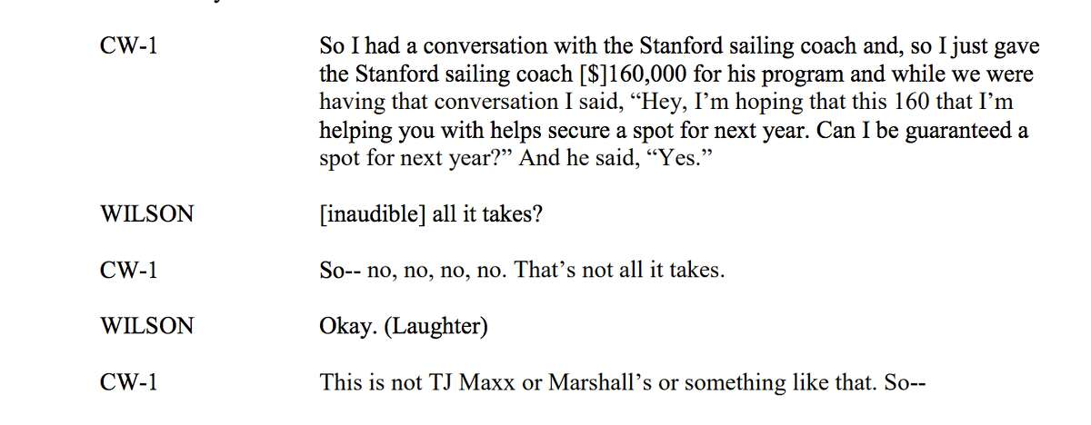 The Department of Justice included in their criminal complaint a transcript of a call they say took place between parent John B. Wilson, of Massachusetts, and Willian Rick Singer, a cooperating witness in the college admissions bribery scandal, discussing payments to now-former Stanford sailing coach John Vandemoer.