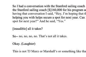 The Department of Justice included in their criminal complaint a transcript of a call they say took place between parent John B. Wilson, of Massachusetts and a cooperating witness in the college admissions bribery scandal, believed to be Willian Rick Singer, discussing payments to now-former Stanford sailing coach John Vandemoer.