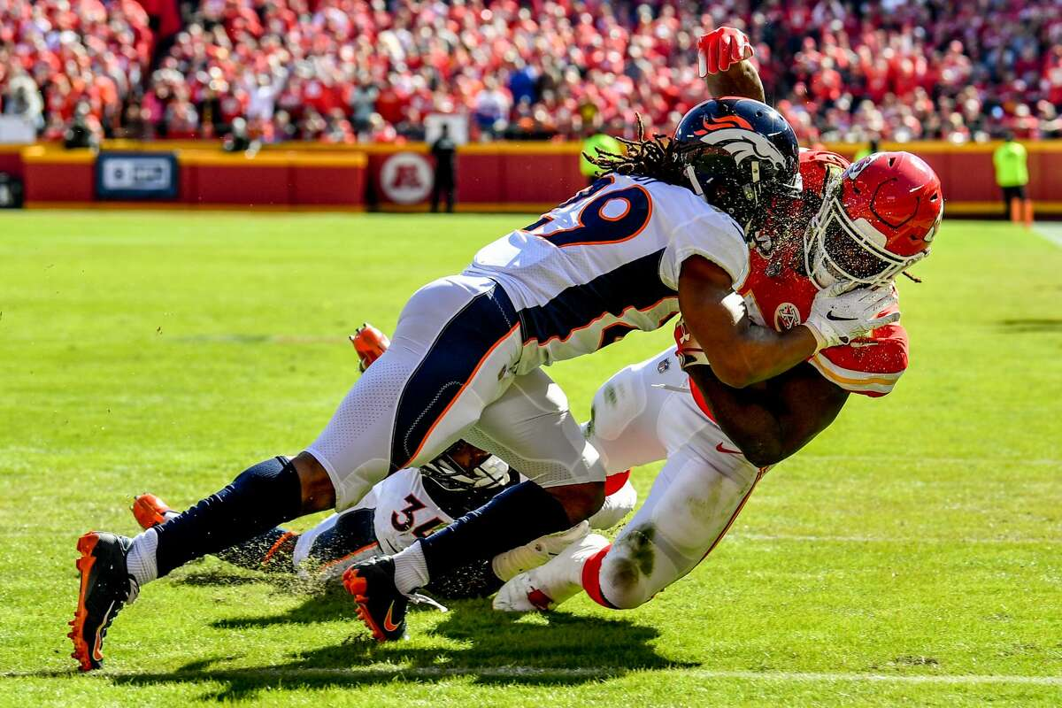 PHOTOS: NFL's best available free agents KANSAS CITY, MO - OCTOBER 28: Kareem Hunt #27 of the Kansas City Chiefs is tackled just short of the goal line by Bradley Roby #29 of the Denver Broncos during the second half of the game at Arrowhead Stadium on October 28, 2018 in Kansas City, Missouri. (Photo by Peter Aiken/Getty Images) >>>See the best NFL free agents available in the 2019 offseason ...