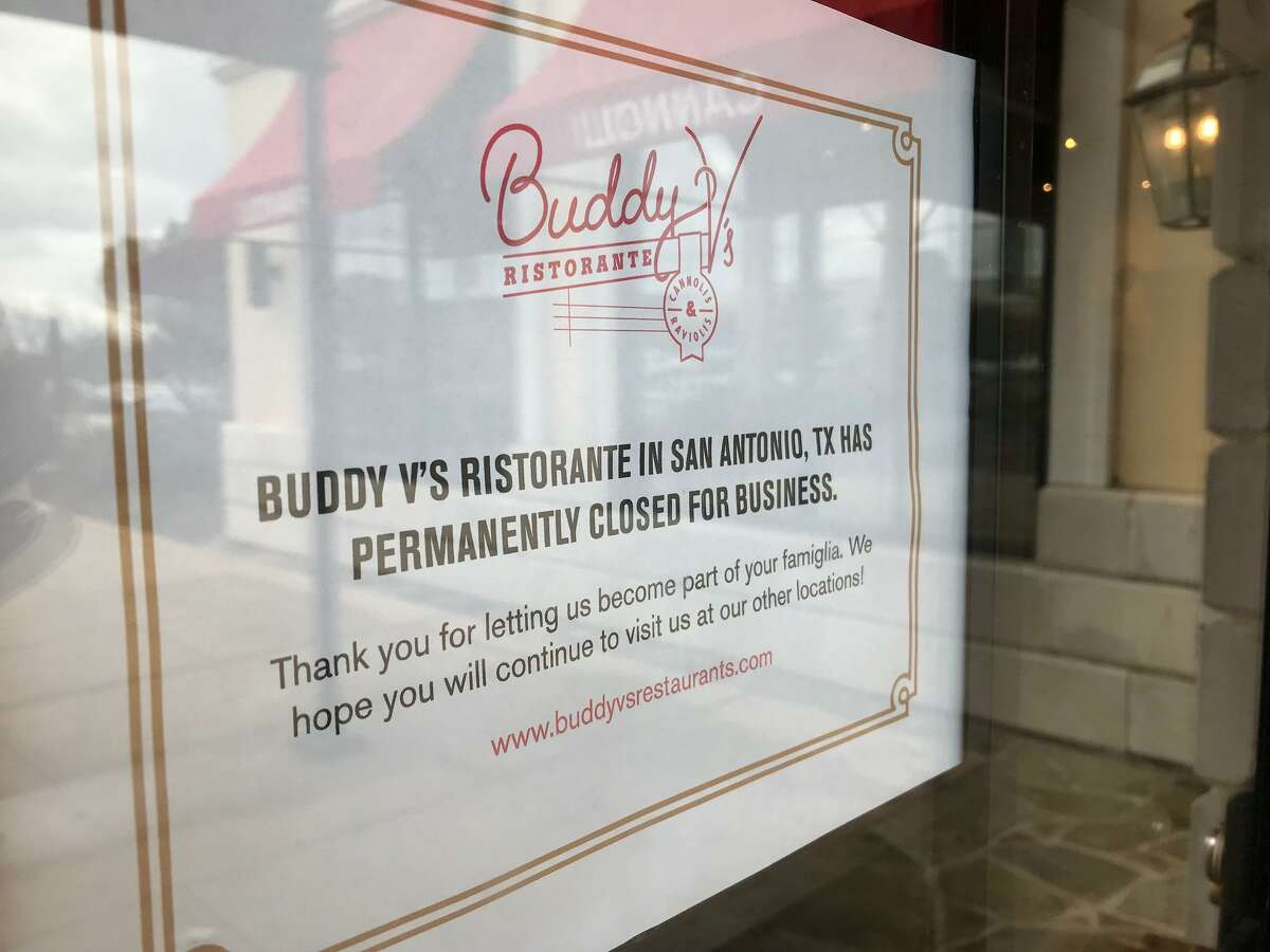 A sign on the door at Buddy V's Ristorante, located inside The Shops at La Cantera, states that it's permanently closed for business.