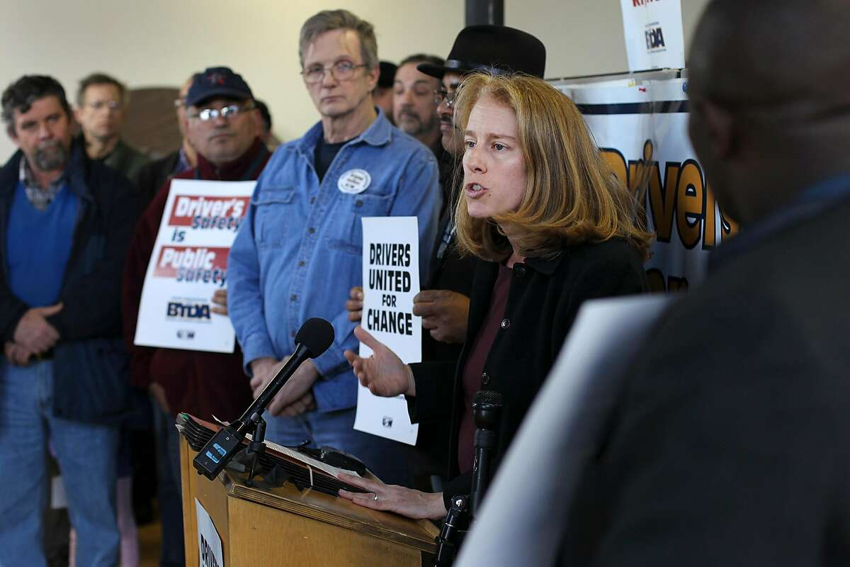BOSTON - APRIL 2: Attorney Shannon Liss-Riordan represents the United Steelworker's Boston Taxi Driver Association as she speaks to reporters following the Globe's spotlight investigation.