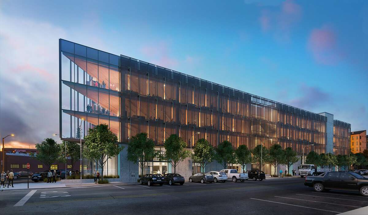 A rendering of 1 de Haro, now under construction, which will be the first modern building in San Francisco to be constructed of cross-laminated timber. The design is by Pfau Long Architecture, a well-regarded local firm merging with� Chicago-based Perkins+Will.