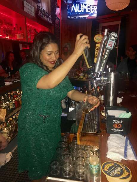 San Francisco Mayor London Breed behind the bar at the Riptide Photo: PJ Johnston / Special To The Chronicle