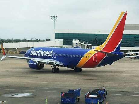 This photo shows a Boeing 737 Max 8 type aircraft at William P. Hobby Airport in Houston on Monday, March 11, 2019. Boeing's stock plunged Monday as the list of countries and airlines grounding the Boeing 737 Max 8 planes continued to grow the day after one crashed in Ethiopia, killing all 157 people on board. (AP Photo/David Koenig)