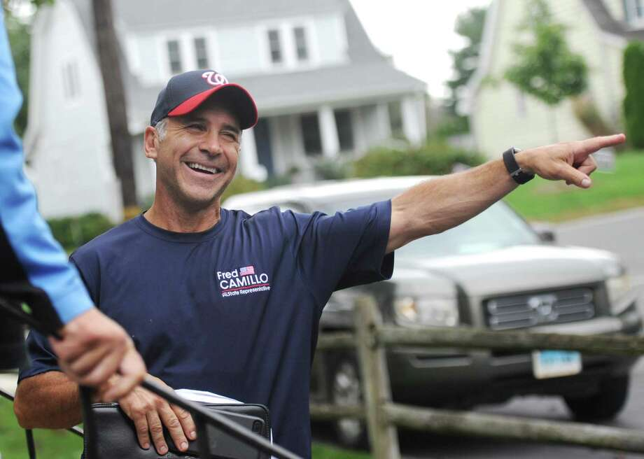 State Rep. Fred Camillo, R-Greenwich, canvasses in the Cos Cob section of Greenwich, Conn. Tuesday, Oct. 9, 2018. Photo: Tyler Sizemore / Hearst Connecticut Media / Greenwich Time