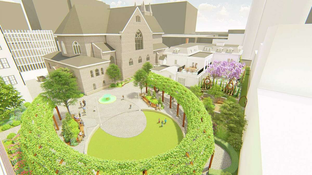 Renderings by Centerbrook Architects & Planners show the proposed piazza Monsignor Stephen DiGiovanni and land use attorney John Leydon hope to build behind Downtown Stamford's Basilica of Saint John the Evangelist.