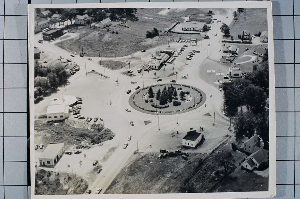 The Earl B. Feiden Appliances showroom is at the top center of this aerial photo of the Latham traffic circle. (Earl B. Feiden Appliances)