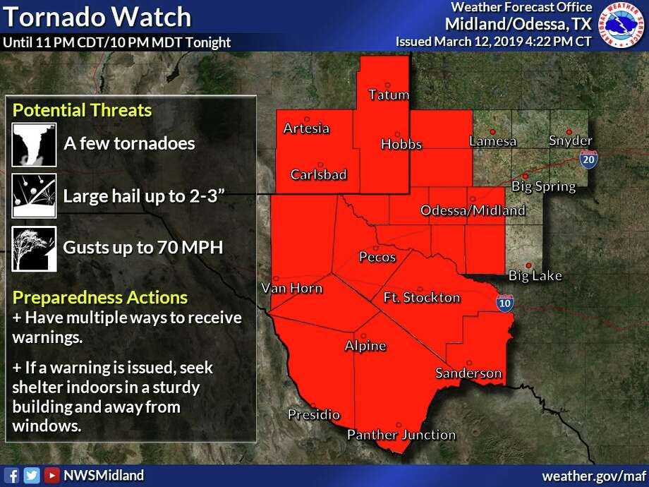 A TORNADO WATCH has been issued for much of the area until 11pm CDT/10pm MDT this evening. Photo: National Weather Service