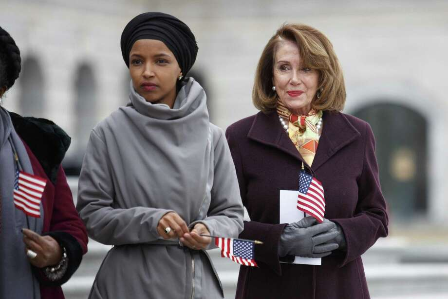 Rep. Ilhan Omar, D-Minn., left, with House Speaker Nancy Pelosi on Capitol Hill March 8. After remarks by Omar deemed anti-Semitic, House Democrats approved a resolution that condemned all bigotry but not mentioning her. This immediately handed Republicans a weapon to use against Democrats. Photo: TOM BRENNER /NYT / NYTNS